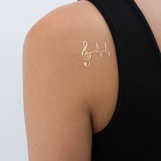 Fancy - Musical note Heartbeat Metallic Temporary Tattoo (Set of 2)