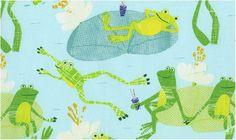 Play Date Playdate Frogs in the Pond Lilypads Aqua Blue Dear Stella Fabrics - 1 yard - IN STOCK. $9.99, via Etsy.