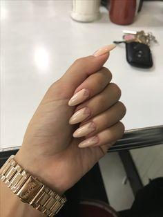 Negative space nail idea. Nude polish using negative space on natural nails. Nude, negative space, natural nails, almond nails, oval nails, nail art