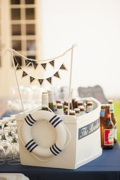 Beer cooler, bar items,  nautical wedding, Jacksonville Wedding Planner, Ribault Club, Pensacola Wedding Planner, Fleur de Lis Event Consulting
