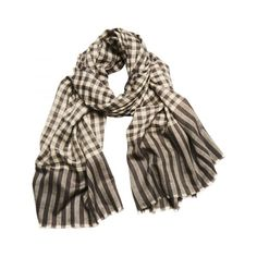Charcoal and Ivory Tartan Check Cashmere Scarf Cashmere Scarf, Man Scarf,  Scarf Wrap, a2fbd7c3465