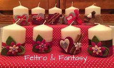 Candele decorate con il feltro, la cannella e i gessetti
