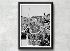 New Orleans Louisiana Map with Coordinates, New Orleans Map, Map Art, Map Print, New Orleans Print, New Orleans Art, New Orleans Wall Art