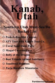 Zion National Park Discover 5 Adventurous Things To Do In Kanab [Ultimate Guide] - Kanab Utah is found in Southern Utah! With Slot Canyons Moqui Caves Paria Mountains and the Coral Pink Sand Dune State Park. State Parks, Utah Vacation, Vacation Ideas, New Orleans, Adventurous Things To Do, The Last Summer, Utah Adventures, Las Vegas, Utah Hikes