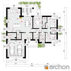 gotowy projekt Dom w różach rzut parteru House Plans Mansion, Dream House Plans, Small House Plans, House Floor Plans, Minimalist House Design, Minimalist Home, Modern House Design, House Layout Plans, House Layouts