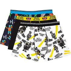 Black robot print boxer shorts pack £15.00