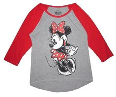 Authentic Licensed Disney item Minnie Mouse full portrait front Dancing sketch design Retro baseball Jersey style tee. 3/4 sleeve 90% cotton 10%