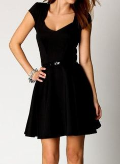 Little black dress:) Really like the structure of this dress and it's clean neckline too!