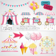 Pink carnival / circus - 16 digital cliparts - INSTANT DOWNLOAD by CreaDigitals on Etsy https://www.etsy.com/listing/232967383/pink-carnival-circus-16-digital-cliparts