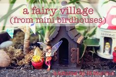 a fairy house made from bird houses and how she did it! Good website