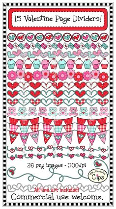 15 Valentine Page Dividers Line art included. 26 png images in all. $ http://www.teacherspayteachers.com/Product/Clip-Art-Valentine-Page-Dividers-line-art-included-1024099