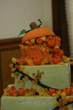 Close-up of Fall Wedding Cake