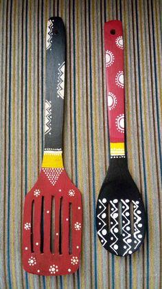 Wooden Spoon Crafts, Wooden Art, Wooden Spoons, Diy And Crafts Sewing, Diy Arts And Crafts, Diy Home Decor Projects, Diy Home Crafts, Diy Canvas Art, Diy Wall Art