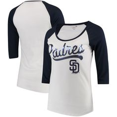 a32fce36ae2 San Diego Padres 5th   Ocean by New Era Women s Baby Jersey 3 4-Sleeve  Raglan T-Shirt - White Navy