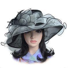 2004b682a0fac Wide Brim Kentucky Derby Sun Hat Women Wedding Tea Party Elegant Church Cap