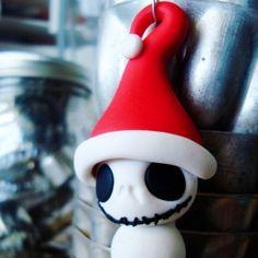 Polymer clay Jack Skellington-Snowman Christmas Ornament.