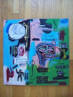 """""""in Italian"""" Oil On Panel By Jean Michael Basquiat"""