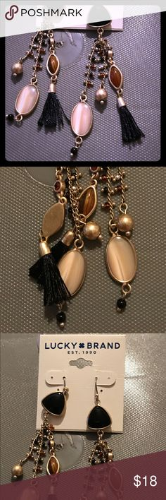 LUCKY BRAND EARRINGS (BROWNS, OPALS & BRASS TONES) LUCKY BRAND EARRINGS (BROWNS, OPALS & BRASS TONES) BLACK TASSELS ARE SO PRECIOUS RETAIL 39.00 Lucky Brand Jewelry Earrings