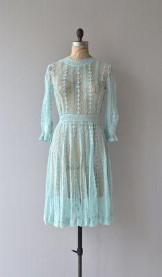 Faded Glades dress  vintage crochet dress  green by DearGolden