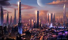 The city of Tericoon on Minterik. The moon-world of Kintemic looms in the background, festering.