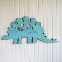 Stegosauras Medium Sign Dinosaur Wall Art Sign Kids Children's Room Decor. $67.00, via Etsy.