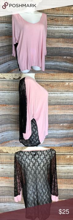 Torrid Black Lace Pink Top! Good used condition. Please see last picture, as there are two tiny marks. Nothing noticeable when wearing, but still notable.  It looks nice with a black bralette or tank under it.   Clean & Ready to wear today!   Smoke/Pet Free Home  Discounts on Bundles only. ;)  Price Firm, otherwise, due to Posh Fees, and this is my full time Job. torrid Tops Blouses