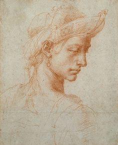 Michelangelo Buonarroti (1475-1564), Ideal Head. Old masters at the Ashmolean Museum, Oxford,UK.