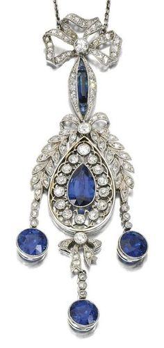 Sapphire and diamond pendant, 1910s.