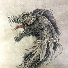 """Zburator"" (dragon wolf) - Dacia Empire [ancient Romanian, before Rome] war standard. My brother in law birthday present. Dragon Tattoo Sketch, Tattoo Sketches, Dragon Wolf, Dragon Art, Viking Warrior Tattoos, Wolf Tattoos Men, Beautiful Dark Art, Wolf Tattoo Design, Nordic Tattoo"