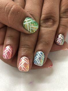 Spring Summer multi color Indigo Pixel Geometric design Gel Nails