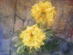 Pedro Cano - Dos rosas amarillas en Galería la Aurora