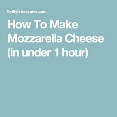 How To Make Mozzarella Cheese (in under 1 hour)
