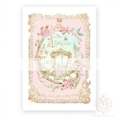 Once upon a time, art print, fairy tale carriage, nursery, crown, pink, gold, baby girl, princess, giclee, collage, Cinderella, roses on Etsy, $20.00
