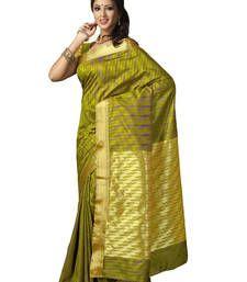 Buy Green embroidered art silk saree with blouse kanchipuram-silk-saree online
