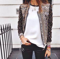 embellished jacket + white tee + black leather leggings