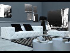 Nella Vetrina Venus VEN03 Italian Designer White Leather Sofa