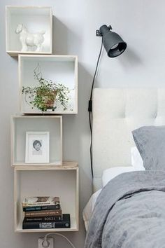 Stylish Bedroom Inspiration and Nightstand Decor Floating Shelves DIY Bookcase Alvhem Products Home Bedroom, Bedroom Decor, Master Bedroom, Bedroom Shelves, Bedroom Small, Bedroom Furniture, Dream Bedroom, Furniture Ideas, Bedroom Storage For Small Rooms