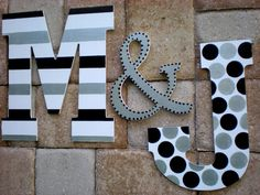 Large Wall Initials 13 5 Inch Painted Initials Set of 3 Etsy # Wood Letters Decorated, Painted Initials, Painting Wooden Letters, Painted Letters, Decorative Letters For Wall, Initial Wall, Letter Wall, Wall Initials, Wood Letter Crafts