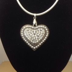 Silver Heart With Diamantes On A White Cord Necklace Pendant ON SALE