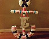 Nautical Theme Ship Wheel Diaper Cake by Alldolledup77 on Etsy