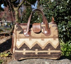 Neutral Turkish Kilim Leather Handbag by StarShineVintage on Etsy