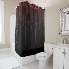 Shop Blood Drips Shower Curtain created by ManCavePortal. Halloween Home Decor, Halloween House, Halloween Themes, Red Shower Curtains, Custom Shower Curtains, Organizing Your Home, White Shop, Powder Room, Man Cave