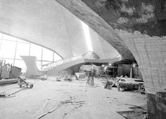 Construction underway inside the TWA Terminal, at new York's JFK Airport, circa 1960.