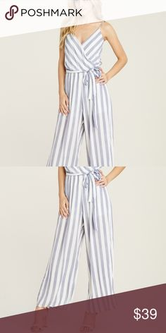 b1032c2824d Devon - Navy Blue + White Striped Jumpsuit Super comfy and flowy lined  self-tie belt full length felicias Pants Jumpsuits   Rompers