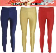 Gold Blue Red American Disco Party High Waisted Leggings Shiny Wet Look Clubbing