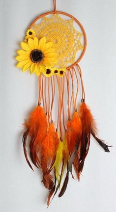 Sunflower Dream Catcher with Orange Faux Suede, a Yellow Crochet Doily, and Matching Feathers - Beautiful DIY Kids Crafts, Diy And Crafts, Craft Projects, Projects To Try, Arts And Crafts, Craft Ideas, Decor Ideas, Crochet Diy, Crochet Doilies