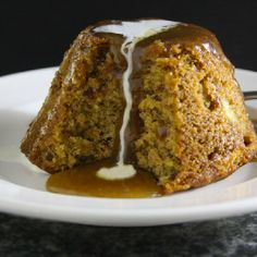 Sticky, delicious Banana Puddings with Caramel Sauce.
