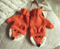 Items similar to Warm fox mittens, Cute gift on Etsy Easy Knitting Patterns, Knitting For Kids, Baby Knitting, Knitted Gloves, Cute Gifts, Knit Crochet, Etsy, Crocodiles, Children's Poncho