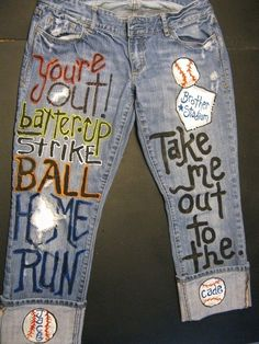 Custom JEANS for Take me out to the ballgame Sned me your jeans to paint The post Custom JEANS for Take me out to the ballgame Sned me your jeans to paint appeared first on Jeans. Softball Mom, Baseball Mom, Baseball Shirts, Baseball Girlfriend, Softball Stuff, Baseball Stuff, Baseball Crafts, Baseball Party, Baseball Season