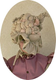 Alice Lang, 'Ecto-parasitic Bonnet Digital Image (Wearable made from wet-look vinyl and wadding), 12 × 16 inches. Courtesy of the artist Sculpture Art, Sculptures, Ovid Metamorphoses, Textiles, Visual Diary, Creative Hairstyles, Dali, Carrera, Textile Art